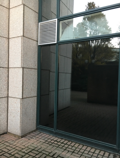 Black out window film installed to commercial property