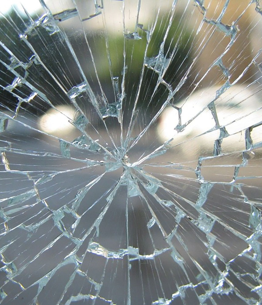 Broken Cracked Window Shattered Glass Toughened