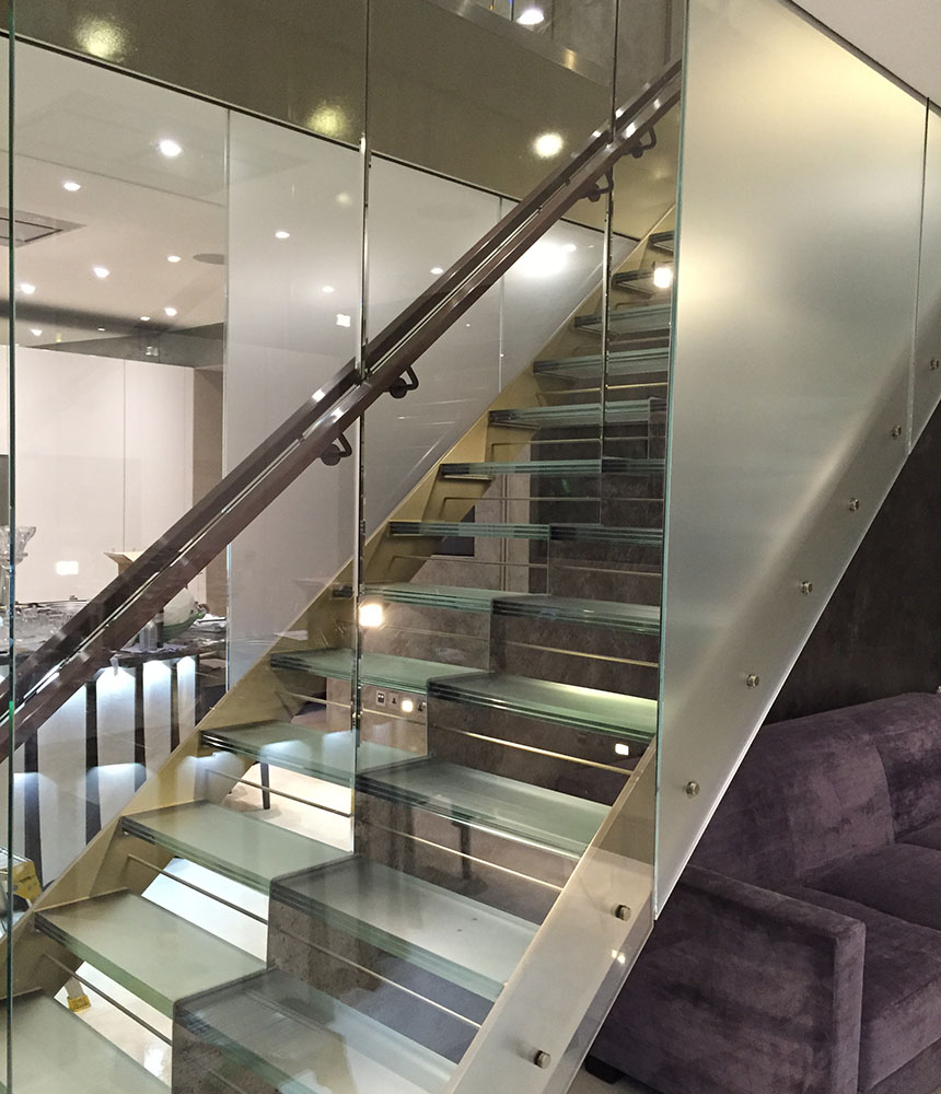 Commercial window film on glass stairwell