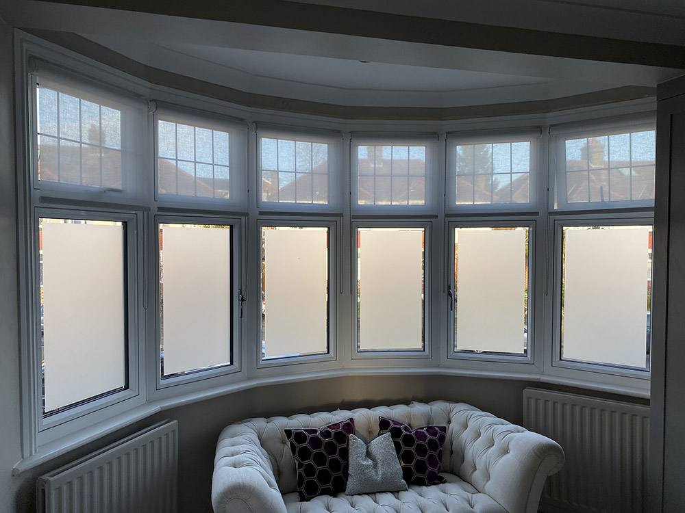Frosted window film bay window